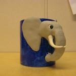 blå mugg grå elefant