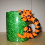 grön mugg orange katt