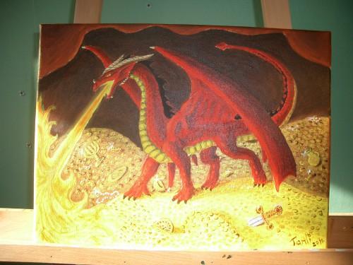 Röd drake i skattkammare
